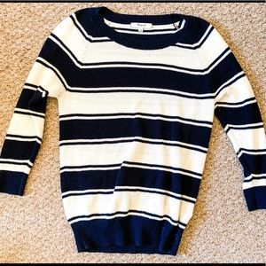 Navy and White 3/4 length Sweater